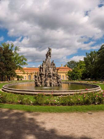 Erlangen, Germany, August 18, 2019: View of the baroque palace garden with fountain and orangery in Erlangen Bavaria, Germany Editorial
