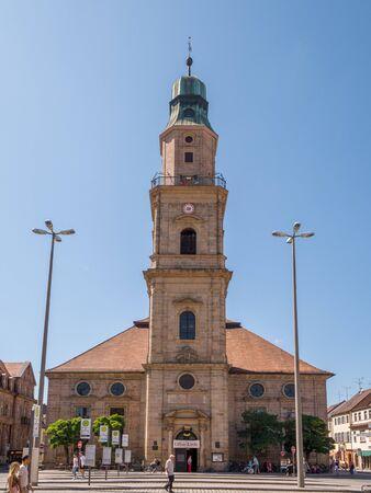 Erlangen, Germany, August 18, 2019: Wide Shot of the Church of Huguenots Erlangen Bavaria Germany