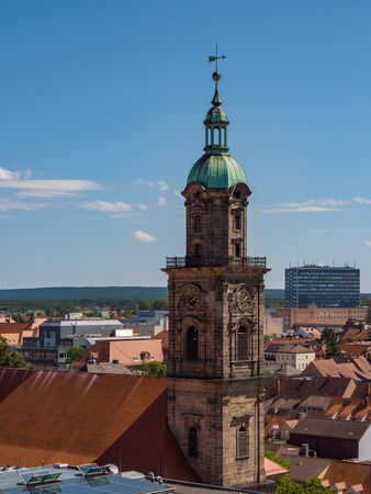 Aerial View of the Neustaedter Church of Erlangen in Germany