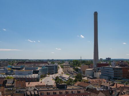 Aerial view on a sunny day over the city of Erlangen Germany