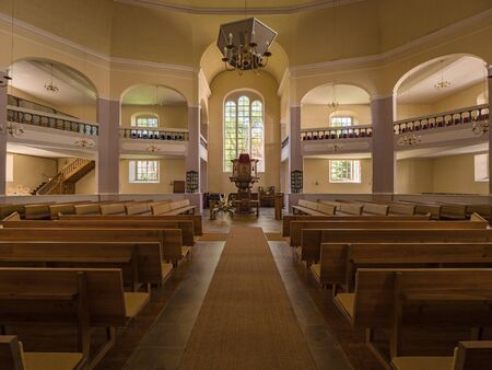 Erlangen, Germany, August 18, 2019: Interior view with altar of the Church of Huguenots Erlangen Bavaria Germany Standard-Bild - 138214367