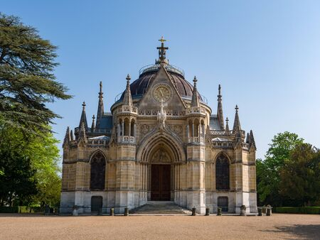 Exterior View Entry of the Chapel Royal Saint Louis shot from forecourt in Dreux, France