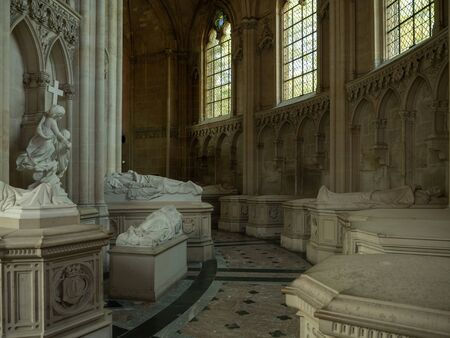 Dreux, France, April 30, 2019: View of the tour with the tombs of the kings inside of the Chapel Royal Saint Louis