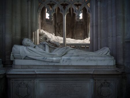 Dreux, France, April 30, 2019: Tomb and memorial of a member of the royal family and his wife inside of the Chapel Royal Saint Louis Standard-Bild - 137608488