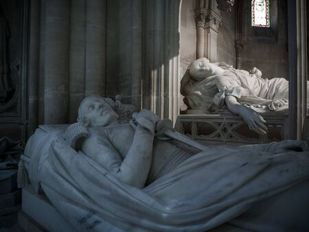 Dreux, France, April 30, 2019: Tomb and memorial of a member of the royal family and his wife inside of the Chapel Royal Saint Louis Editorial