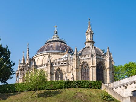 Exterior View of the Chapel Royal Saint Louis from Parking place in Dreux, France Standard-Bild