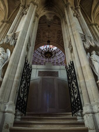 Dreux, France, April 30, 2019: Staircase and passage to the main hall of the memorial site inside of Chapel Royal Saint Louis