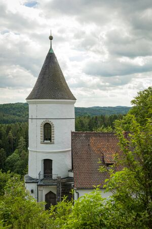 Etzelwang, Germany, May 25, 2017: Neidstein Castle is a 16th century castle in the Bavarian Upper Palatinate. View on tower from castle ruin. From 2006 to 2009 owned by Nicolas Cage