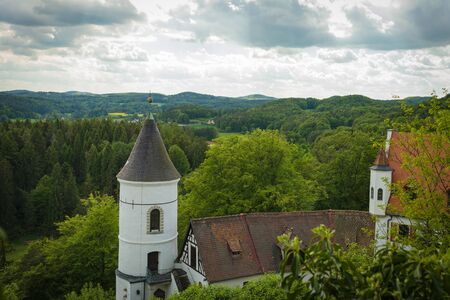 Etzelwang, Germany, May 25, 2017: Neidstein Castle is a 16th century castle in the Bavarian Upper Palatinate. View on tower and Landscape from castle ruin. From 2006 to 2009 owned by Nicolas Cage Editorial