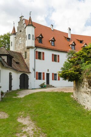 Etzelwang, Germany, May 25, 2017: Neidstein Castle is a 16th century castle in the Bavarian Upper Palatinate. Main building with two oriels. From 2006 to 2009 owned by Nicolas Cage