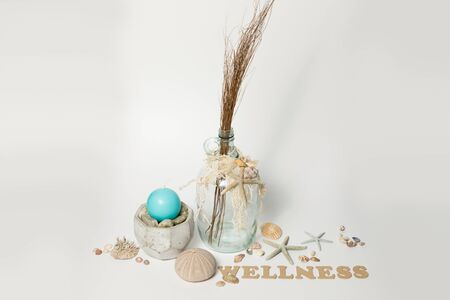 Maritime and wellness elements with word WELLNESS on white Background Stock Photo
