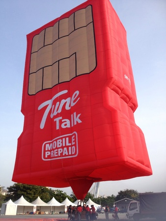 A simcard hot air balloon by Tune Talk mobile provider company. Photo taken in Hot air balloon festival in Malaysia.