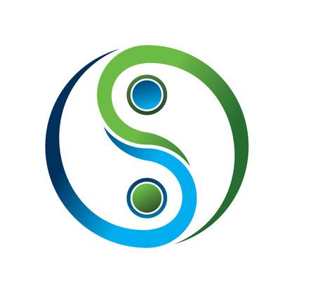 シンプルな青および緑の陰陽のシンボル