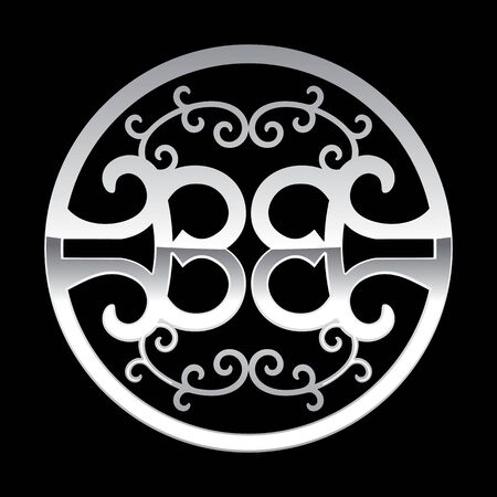 BB Initials Circle Iron Detailed Ornament