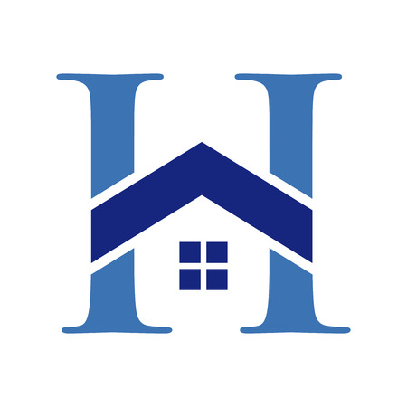 Initial Letter H in a Home Shape