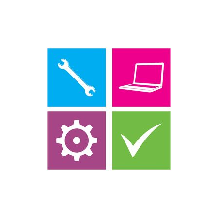computer repair: Computer Repair Logo. Repair Icon Illustration