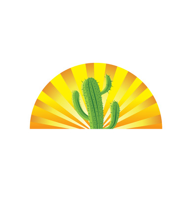 Cactus in Abstract Sunrise Logo