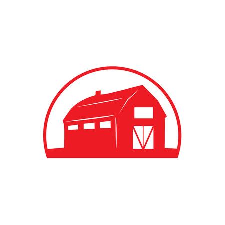Simbolo rosso della casa del granaio nella priorità bassa bianca.