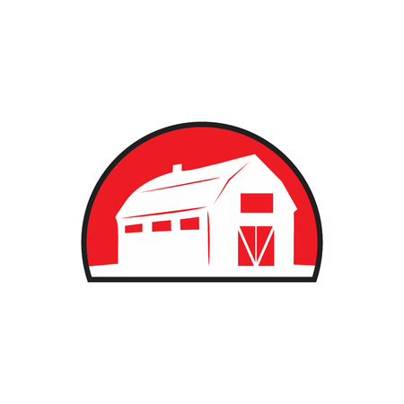 Barn House on vector icon.