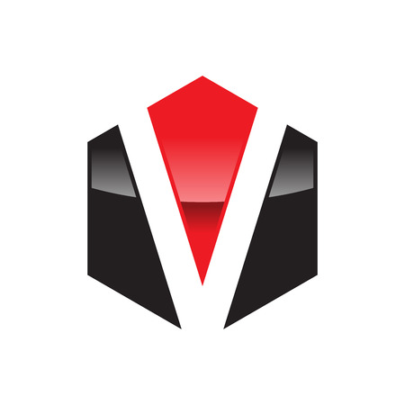 Hexagonal V Logo Vector