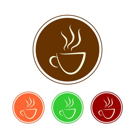 Coffee Cup. Tea Cup Icon with Color Background