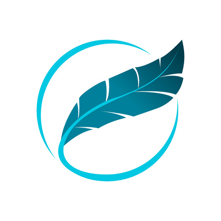 Blue Feather Logo Concept. Circle Design