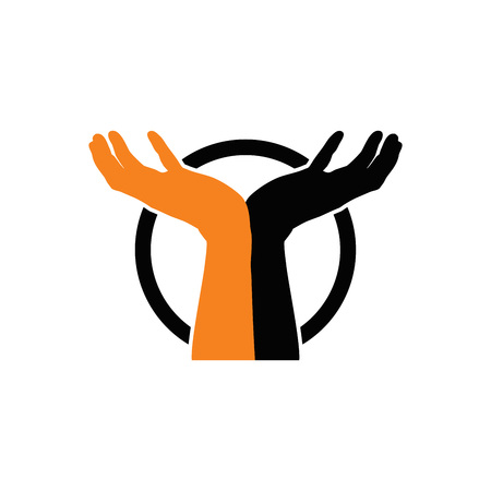 Together in Care. Raising Hand. Cupped Hand Logo Vector Vettoriali