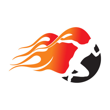 Fiery Runner. Running Man with Fire Icon Logo  イラスト・ベクター素材