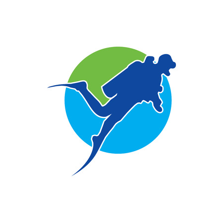 Scuba Diver Logo with Blue and Green Background