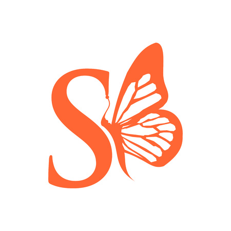 Initial Letter S with Butterfly 일러스트