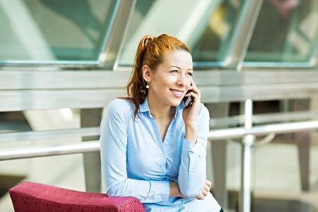 Closeup portrait businesswoman talking on mobile phone photo