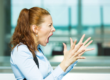 angry teacher: Closeup side view profile portrait mad angry, upset hostile young businesswoman, worker, furious yelling hands in air