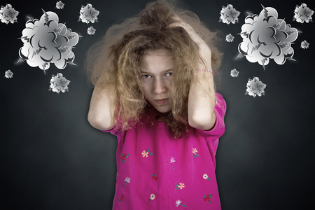 disobey: Closeup portrait angry, sad upset, grumpy, stressed little young girl Stock Photo