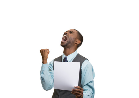 monthly salary: Closeup portrait angry, mad, screaming business man holding paper, document, screaming, looking up isolated white background. Negative emotions, facial expression, feeling. Financial crisis, bad news