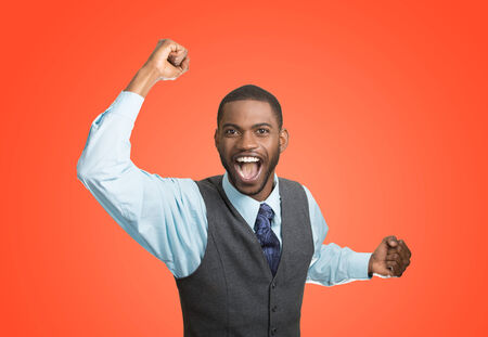 enrolled: Closeup portrait excited, energetic, happy, screaming student, business man winning, arms, fists hands pumped, celebrating success isolated red background. Positive human emotion, facial expression