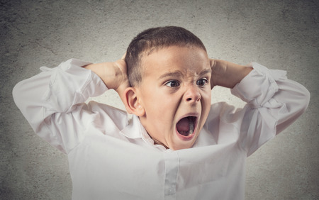 Headshot, Portrait Angry Child Screaming, hands on head isolated grey wall background  Negative Human face Expressions, Emotions, Reaction, life Perception  Conflict, confrontation concept  Behavior photo
