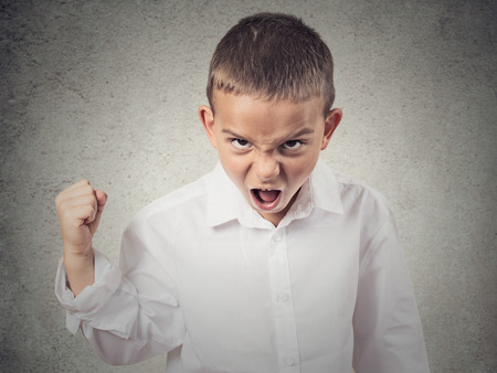 Closeup Portrait Angry child, Boy Screaming fist up in air, demanding justice, his rights isolated grey wall background. Negative human Emotion, Facial Expression, body language, attitude, perception