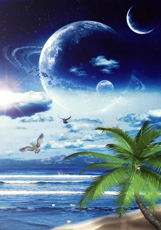 dreamland: Nostalgic dreamland with big full moon, stars planet sky over the sea Ocean in the night. Peaceful vacation exotic destination paradise. Scenic seashore, seascape bay landscape picture. Travel concept Stock Photo
