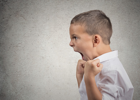 Closeup Headshot side view Portrait Angry Child Screaming, fists up in air isolated grey wall background  Negative Human face Expressions, Emotion, Reaction, Perception  Conflict confrontation concept photo