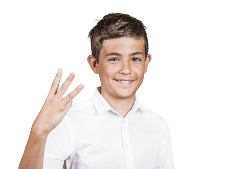 trilogy: Closeup portrait, young handsome, smiling man, student giving three fingers sign gesture with hands, isolated white background. Positive human emotions, facial expressions, feeling, signs, symbol