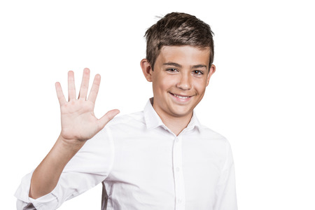 appraising: Closeup portrait, headshot happy, smiling young man making five times sign gesture with hand fingers isolated white background. Positive human emotion, facial expression, symbol, body language sign