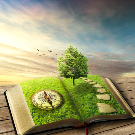 Illustration of magic opened book covered with grass, compass, tree and stoned way on woody floor, balcony. Fantasy world, imaginary view. Book, tree of life, right way concept. Original screensaver.