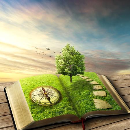 Ilustración del libro mágico abierto cubierto de hierba, brújula, árbol y camino empedrado en el piso de madera, balcón. Mundo de fantasía, vista imaginaria. Libro, árbol de la vida, concepto de manera correcta. Salvapantallas original. Foto de archivo