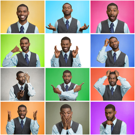 Mosaic, collage young handsome business man expressing different emotions, facial expressions feeling on different color background. Human life perception body language gestures. Mood, behavior swings Stockfoto