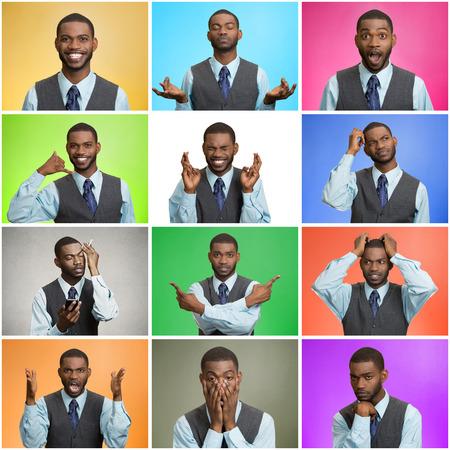 Mozaïek, collage jonge knappe zakenman die verschillende emoties, gelaatsuitdrukkingen gevoel op verschillende kleur achtergrond. Het menselijk leven perceptie lichaamstaal gebaren. Mood, gedrag schommels Stockfoto