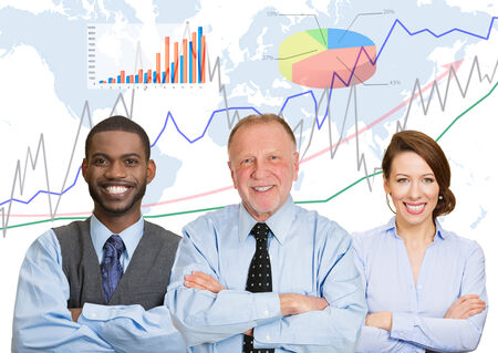 Happy team, group business people with folded hands, team leader concept finance graph chart diagram, world map background. Happy smiling corporate employees. Busy office lifestyle company executive photo