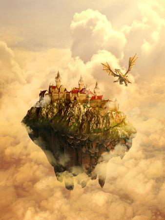 무서운 용에 의해 보호 격리 꿈나라, 신비의 장소, 가정, 침략 아름다운 공주의 성곽의 그림. 원래 화면 보호기. 동화, 신화적인 이야기의 개념입니다. 스톡 콘텐츠