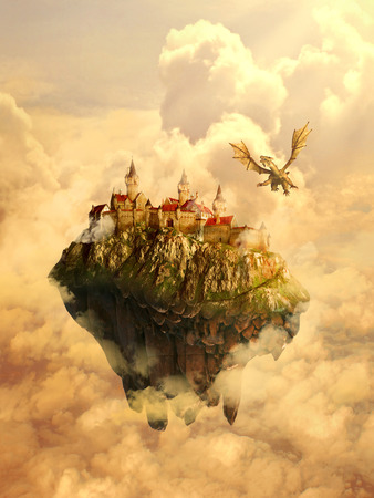 Illustration of isolated dreamland, mystique place, home, castle of a beautiful princess invaded, protected by scary dragon. Original screensaver. Fairytale, mythic story concept.