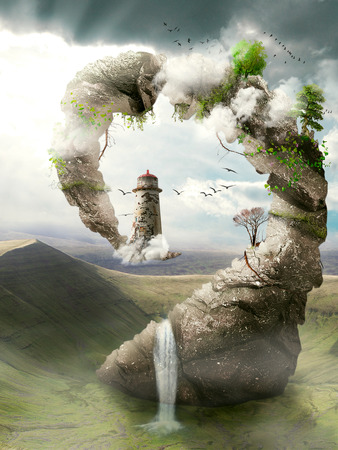 surrealism: Illustration, view of  surrealistic dreamland, natural stoned bridge to the lighthouse. Paradise, fantasy land, fairy tale world concept. Original, artistic screen saver.