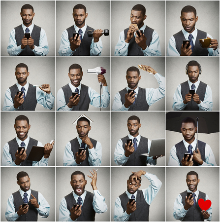 Smartphone addiction concept. Collage, portrait handsome executive businessman always checking something on smart phone simultaneously multitasking isolated grey background. Face expressions, emotions